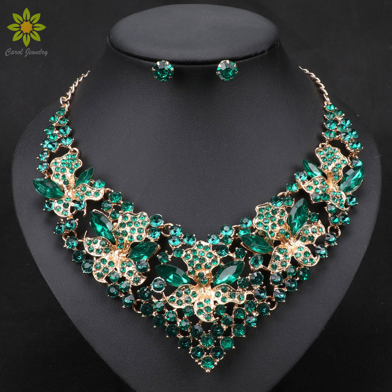 Fashion Trendy Nigerian Wedding African Beads Jewelry Sets Crystal Necklace Earrings Set Party Wedding Dubai Jewelry Set