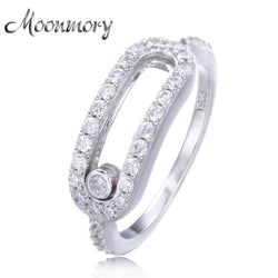 Moonmory European Style Jewelry 925 Sterling Silver Wedding Rings For Women Silver Moon Female Ring With Moved Stone Wholesale