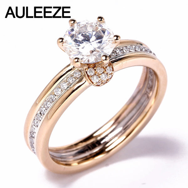 AULEEZE 1.5CT Moissanites Engagement Ring Solid 14K Yellow White Gold Rings For Women Lab Grown Diamond Wedding Ring Jewelry