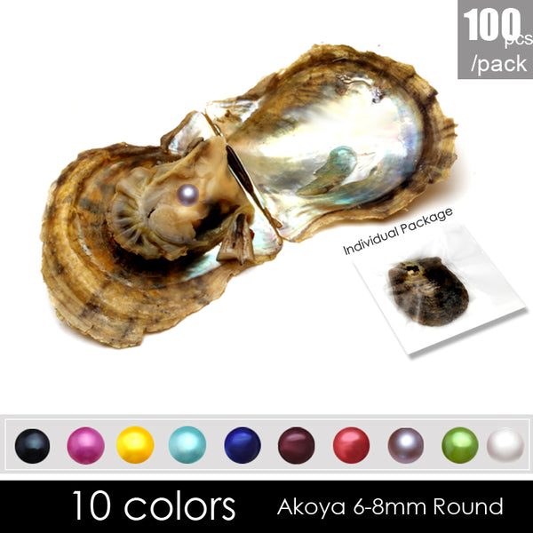 100 pcs Interesting gift 6-8mm round akoya pearl in oyster with vacuum-packed, AAA grade natural saltwater pearls oysters