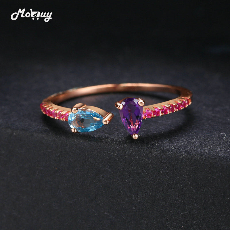Teardrop Amethyst Natural Gemstones Adjustable 925 Sterling Silver Rose Gold Plated Rings For Women Anniversary MBRI043