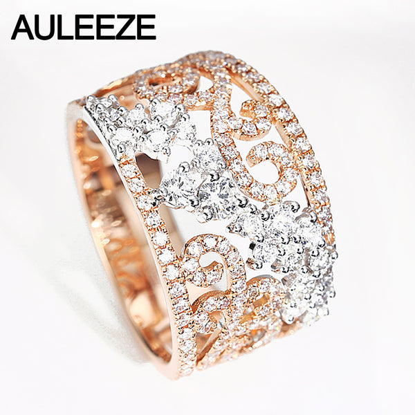 AULEEZE Luxury 1.14CTTW Certified Diamond Wedding Bands 18K White Gold Rose Gold Wedding Party Rings For Women Fine Jewelry