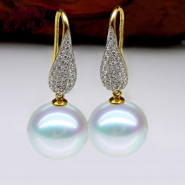 18k Pure Gold Southsea Pearl Earrings Fashion With -jewelry 2017 New Popular Upscale Women Girl Gift Trendy Party Hot