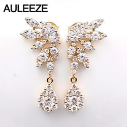 AULEEZE Luxury 1.88cttw Natural Diamond Drop Earring Real Solid 18K Yellow Gold Shinning Fine Jewelry for Women Christmas Gifts