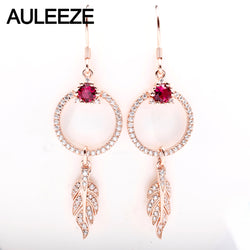 AULEEZE Natural Ruby 18K Rose Gold Drop Earrings For Women Fine Gemstone Jewelry Wedding/Engagement /Women's Day Gift