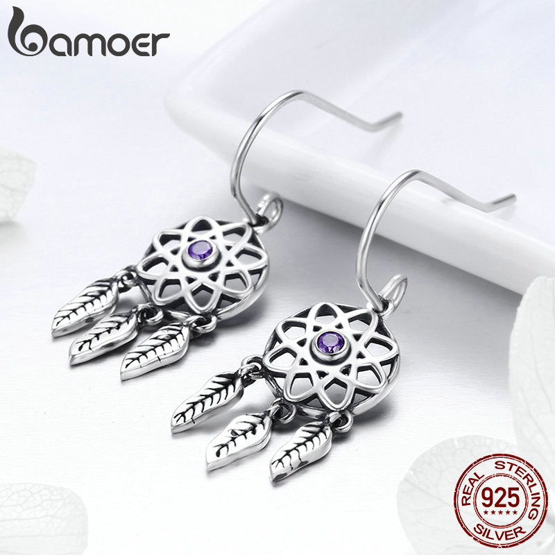925 Sterling Silver Dream Catcher Holder Drop Earrings for Women Sterling Silver Jewelry Gift SCE394
