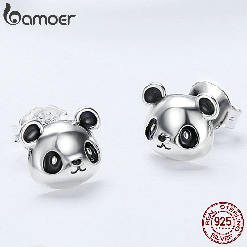 925 Sterling Silver Animal Collection Cute Panda Stud Earrings for Women Sterling Silver Jewelry SCE386