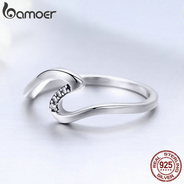 925 Sterling Silver Geometric Wave Finger Rings for Women Wedding Engagement Jewelry Gift S925 SCR378