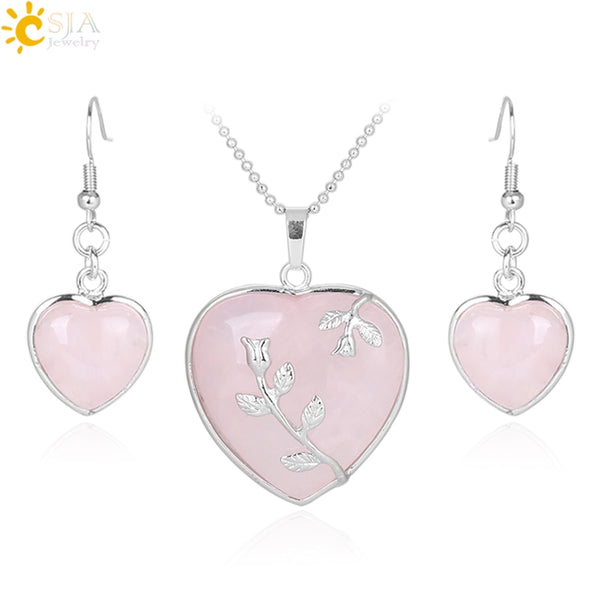 CSJA Girl Women Love Heart Jewelry Sets Reiki Natural Gem Stone Lapis Lazuli Necklace Drop Earring Set Leaf Pendant Wedding E425