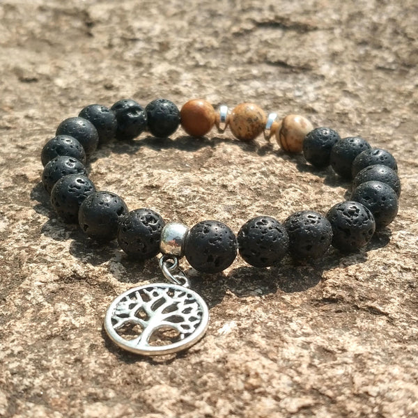 Tree of Life Charms Green White Stone 8mm Black Lava Beads DIY Aromatherapy Essential Oil Diffuser Bracelet Strand Jewelry
