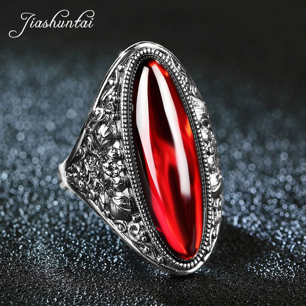 JIASHUNTAI Retro Silver Rings For Women Vintage Big Rings 100% 925 Sterling Silver Jewelry Female 4 Color Best Gifts