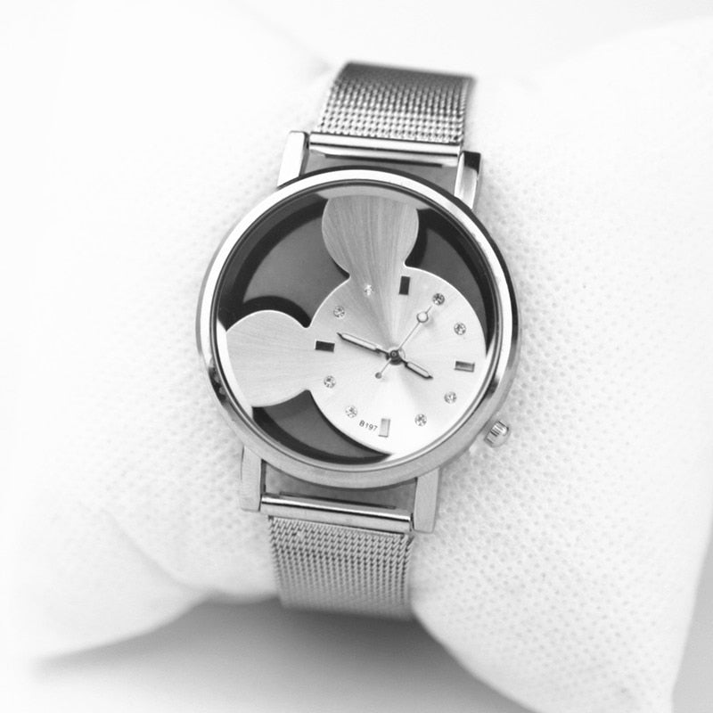 montres femmes 2020 fashion Mickey Transparent hollow dial women watch quartz casual stainless steel mesh belt watch Hot Gift