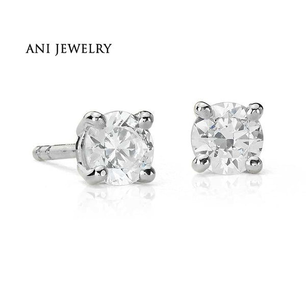 ANI 18K White Gold (AU750) Women Wedding Stud Earrings 0.4 CT Certified I/S2 Round Cut Natural Diamond Earrings aretes de mujer