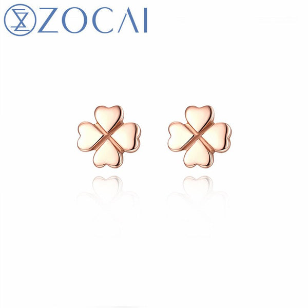 ZOCAI Brand 18k rose gold (AU750) earrings Lucky grass shape earrings free shipping E01062