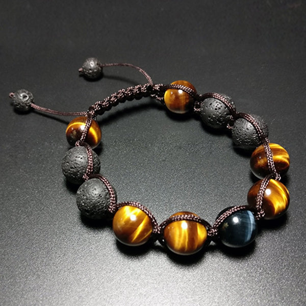 Natural blue tiger eye stone yellow tiger eye stone eagle eye Handmade Bracelet hand and string jewelry for men and women