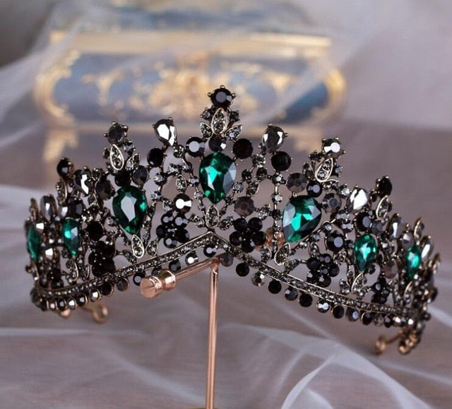 KMVEXO European Green Crystal Tiaras Vintage Black Rhinestone Pageant Crown Baroque Bridal Wedding Hair Jewelry Accessories Gift