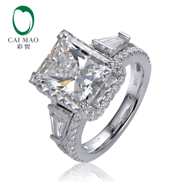 Caimao 3.70ct F Radiant Moissnaite with 1.15ct Accent Moissanite 14K White Gold Engagement Ring
