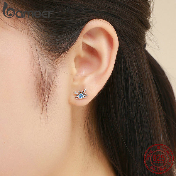 925 Sterling Silver Cute Ocean Crab Small Blue CZ Stud Earrings for Women Fashion Earrings Jewelry Gift S925 SCE413