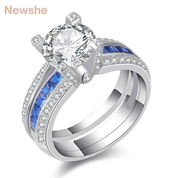 Newshe 925 Sterling Silver Wedding Ring Sets For Women Blue Cubic Zirconia Engagement Band Fashion Jewelry For Women JR4579_B
