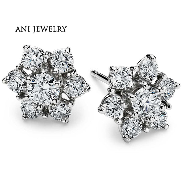 ANI 18K White Gold (AU750) Women Wedding Stud Earrings 1.5 CT Certified SI Natural Diamond Earrings Lady Engagement aretes