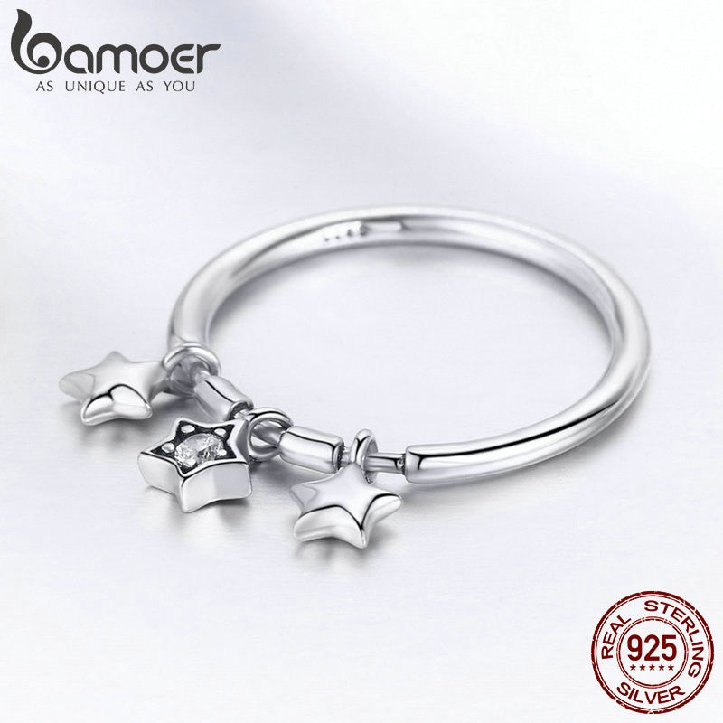 925 Sterling Silver Fashion Sparkling Dangle Star Finger Rings for Women Wedding Engagement Ring Jewelry SCR406