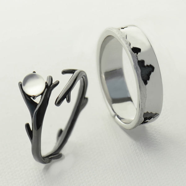 Original Moonlight Forest Design Finger Ring Moonstone Gemstone s925 Silver Black Branch Ring for Women Elegant Jewelry