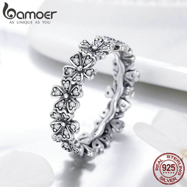 925 Sterling Silver Stackable Daisy Flower Finger Rings for Women Sterling Silver Wedding Jewelry SCR397