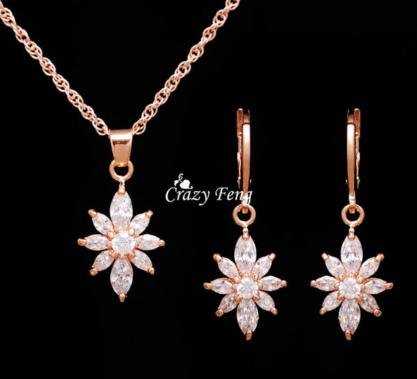Party Flowers Bridal Jewelry Sets Necklace Earrings Rose Gold Color Women Dangles Earrings CZ Crystal Noble Hot