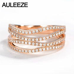 AULEEZE Genuine Real 18k Rose Gold Wave Rings Natural Diamond 0.50cttw Round Cut Wedding Rings for Women Fine Jewelry Love Gifts