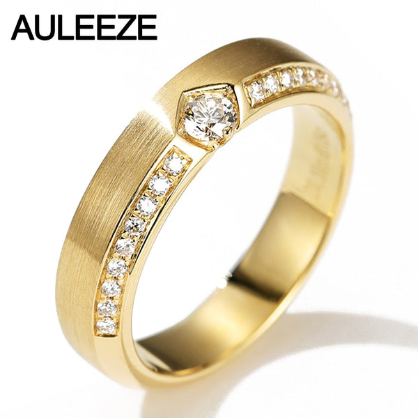 AULEEZE Classic Wire Drawing 18K Solid Yellow Gold Real Diamond Wedding Women Rings Band Fine Jewelry