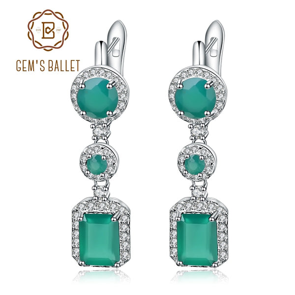 Gem's Ballet 4.96Ct Natural Green Agate Drop Earrings 925 Sterling Silver Vintage Earrings For Women Wedding Fine Jewelry