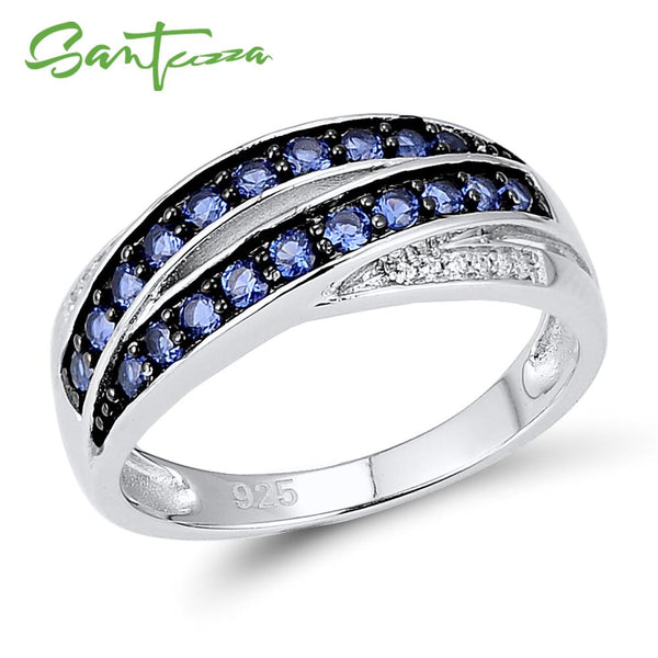 SANTUZZA Silver Ring For Women 925 Sterling Silver Chic Female Ring Blue Nano Cubic Zirconia Glamorous Ring Fashion Jewelry