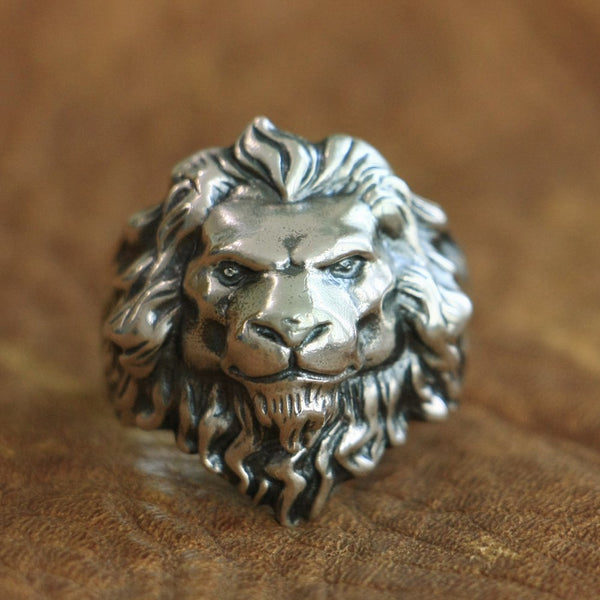LINSION 925 Sterling Silver King of Lion Ring High Details Mens Biker Punk Ring TA109 US Size 7~15
