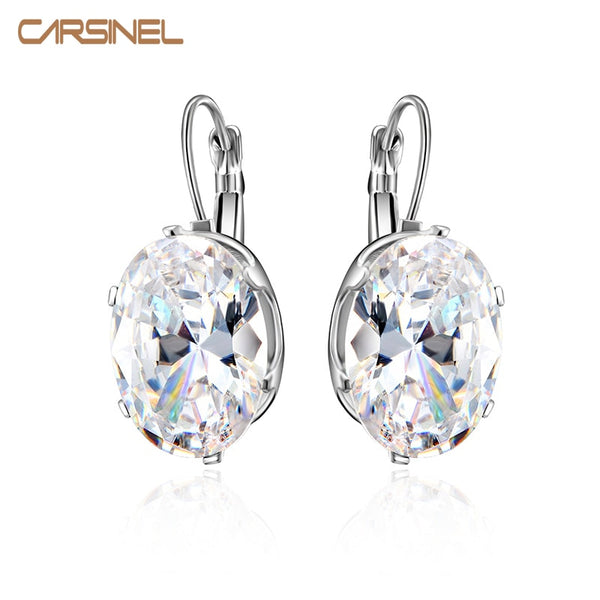 CARSINEL 5 Colors Big Oval Zircon Hoop Earrings for Women Fashion 13*18mm CZ Indian Fringe Circle Earing Bijoux Girls Gifts
