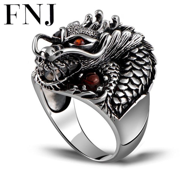 Punk 925 Silver Dragon Rings Red Cubic Zircon Adjustable Size Vintage Trendy S925 Solid Thai Silver Ring for Women Men Jewelry
