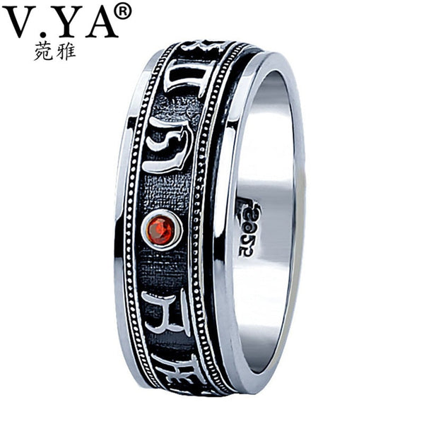 V.YA Vintage Thailand Thai Silver Ring for Men OM MANI PADME HUM 925 Sterling Silver Male Rings Mens Jewelry