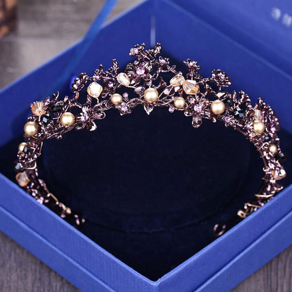 Baroque Vintage Purple Crystal Wedding Bridal Tiaras Hairband Headpiece Black Princess Pageant Crown Bridal Hair Accessories
