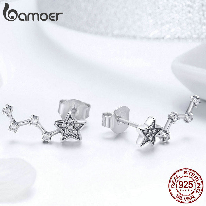 925 Sterling Silver Elegant Sparkling Star Crystal CZ Small Stud Earrings for Women Fashion Earrings Jewelry SCE439