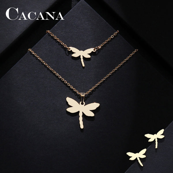 CACANA Stainless Steel Sets For Women Dragonfly Shape Necklace Bracelet Earring Jewelry Lover's Engagement Jewelry S85