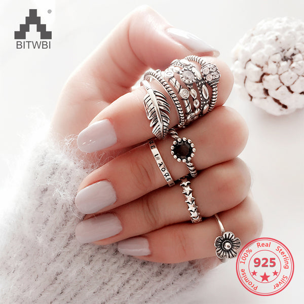 S925 sterling silver ring female models sweet Korean version of the retro Thai silver birthday gift simple open joints ring