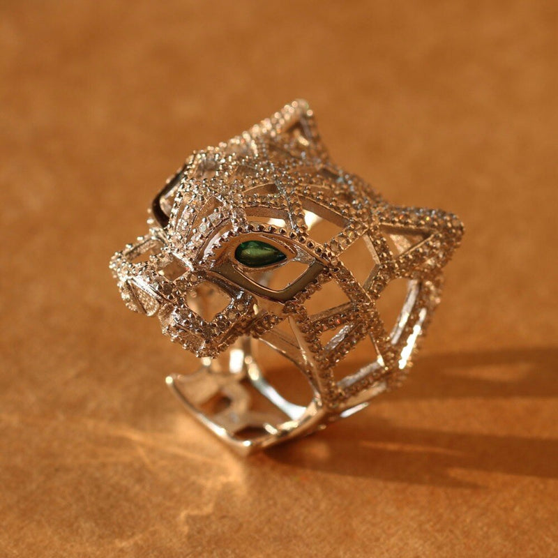 Silver Panther Ring For Women men 925 Sterling Silver Green Eyes Leopard finger Cubic Zirconia Ringen Party Jewelry Fine Jewelry