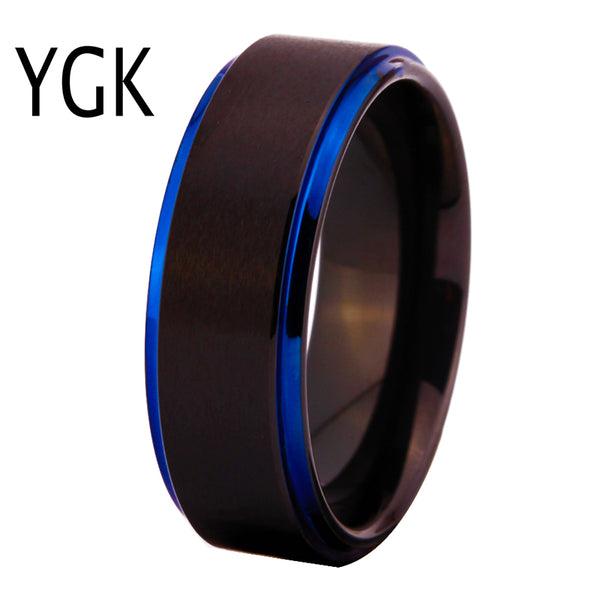 Classic Wedding Rings for Women Men's Fashion Engagement Ring Male and Female Finger Jewelry Matte Black With Blue Tungsten Ring