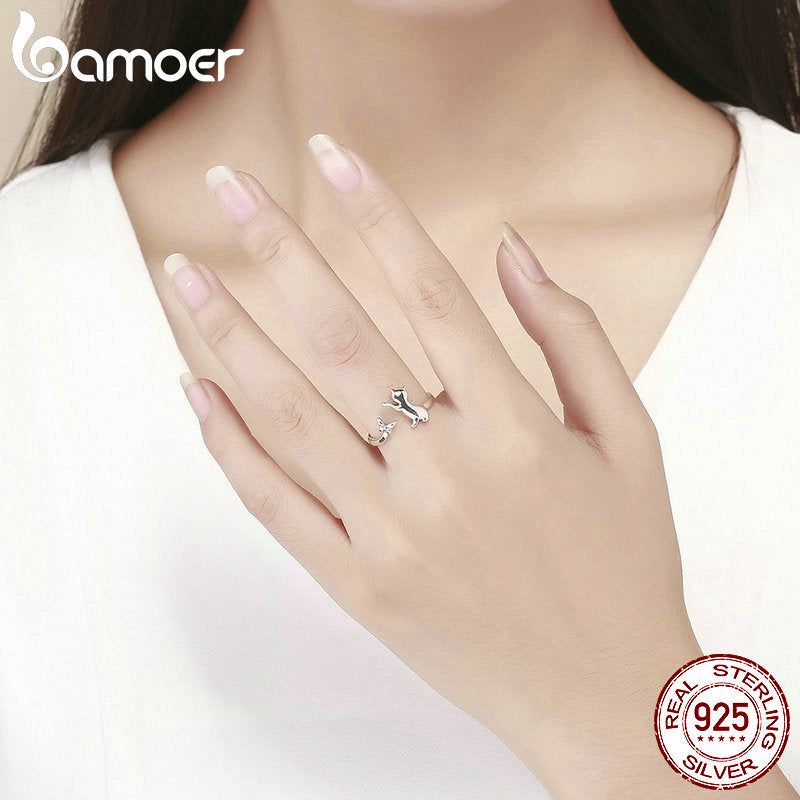 925 Sterling Silver Butterfly Tail Cat Adjustable Finger Rings for Women Sterling Silver Ring Jewelry SCR443
