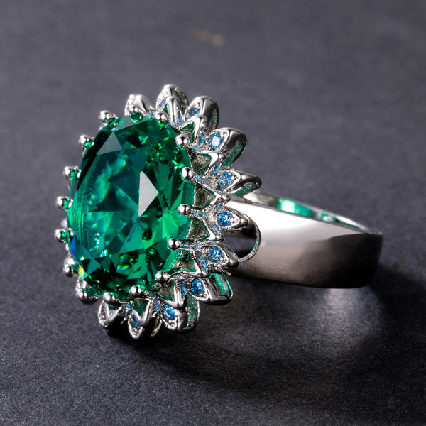 Emerald Ring Solid 925 Sterling Silver Rings For Women Anniversary Gift For Mother Fine Jewelry Ring Wholesale