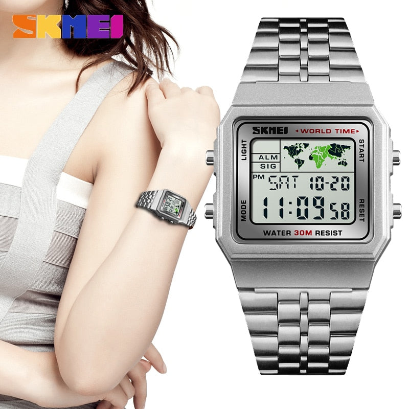 SKMEI Fashion Luxury Women Watches Waterproof Sport Silver Digital Lady Watch for Woman Montre Femme Relogio Feminino 2020 New