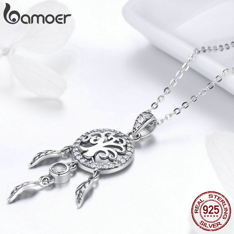 925 Sterling Silver Tree of Life Fashion Dream Catcher Pendant Necklaces for Women Sterling Silver Jewelry SCN298