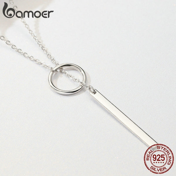 925 Sterling Silver Round Circle Line Geometric Pendant Necklaces for Women Sterling Silver Jewelry SCN304