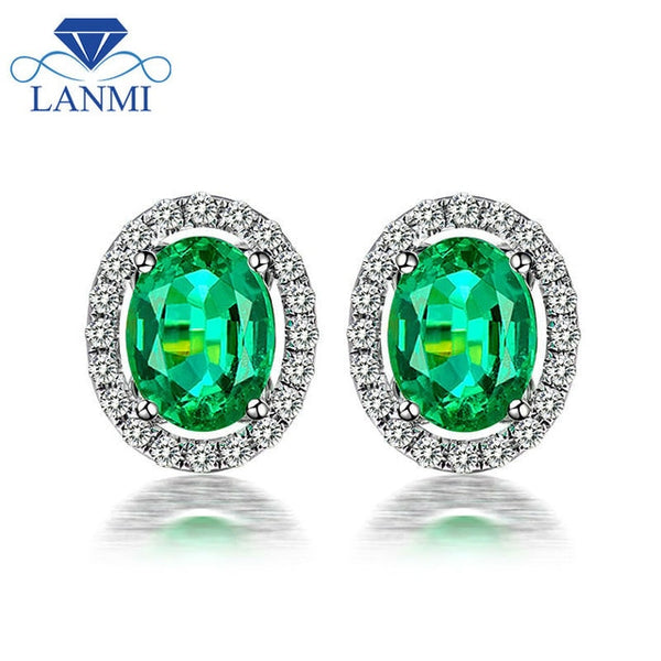 Fashion Ladies 2.29ct Colombia Emerald Gemstone Stud Earrings Solid 14K White Gold Natural Diamond Emerald Earrings For Women