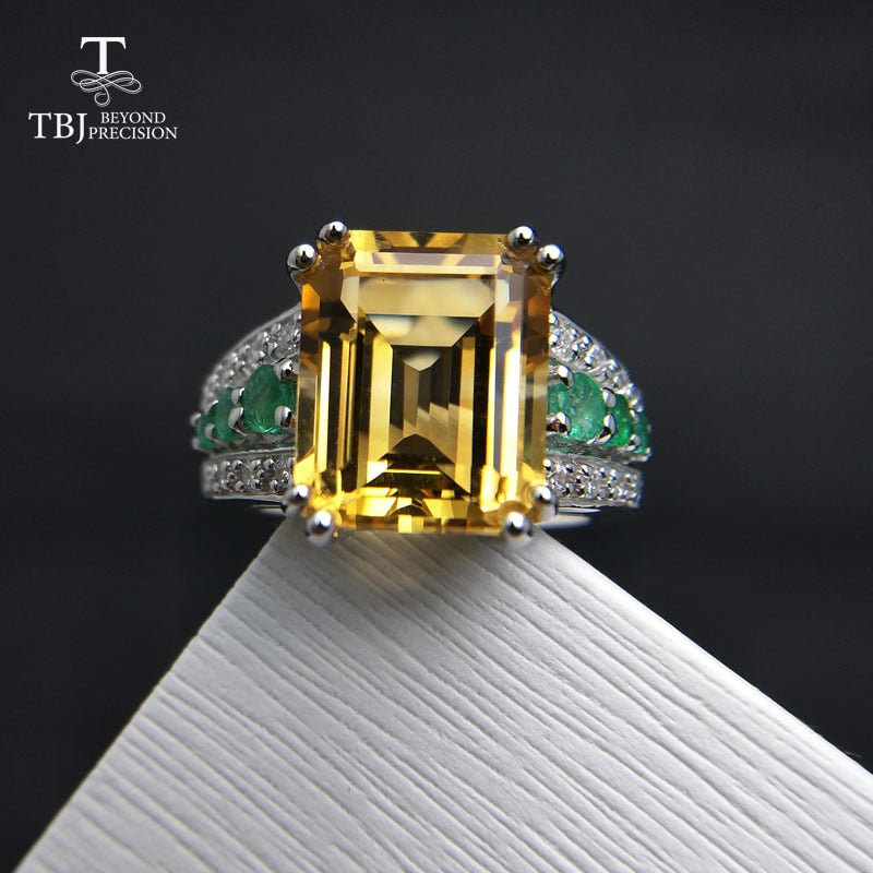 TBJ,High quality Gemstone solid Ring with Brazil Citrine and Emerald in 925 sterling silver women  best gift anniversary  party
