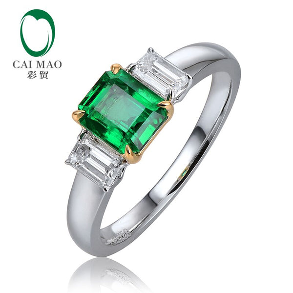 Caimao 1.05ct Natural Emerald 0.42ct Baguette Cut Diamond 18K White & Yellow Gold Engagement Wedding Ring Unisex